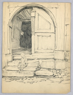 Double wood doorway with rounded top, one door open showing inside on building. Stone steps before it with child sitting on steps.