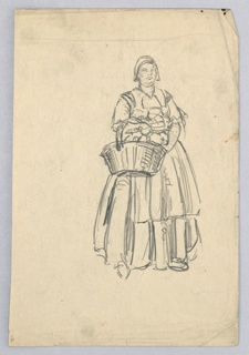 Full-length figure in full skirt, blouse and cap, facing front, and carrying a large basket over her right arm.