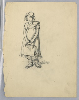 Full-length figure facing front, head turned slightly to left, and holding satchel in both hands. Figure wears cap, long dress.