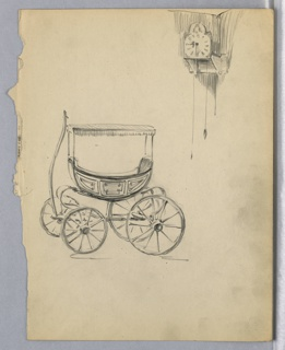 Side view of baby carriage with fringe canopy and pole for hitching to animal. Clock attached to wall in corner, upper right.