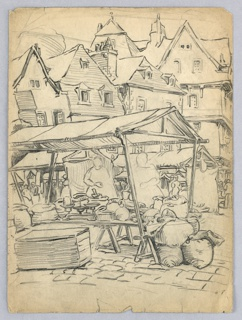Produce market, laden tables and women, covered by tent roofs. Medieval houses in background.