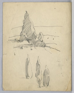 Center background: scene of hills with trees and bushes. Lower portion of page are sketches of trees unrelated to scene above.