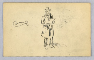Small figure, located at center, dressed in overcoat and tall hat, singing from book he holds in both hands. At left, sketch of isolated leg.