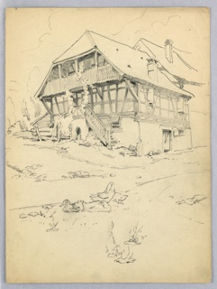 Harm house, half-timbered and with steeply pitched roof of the type found in the Alps, with ducks in foreground.