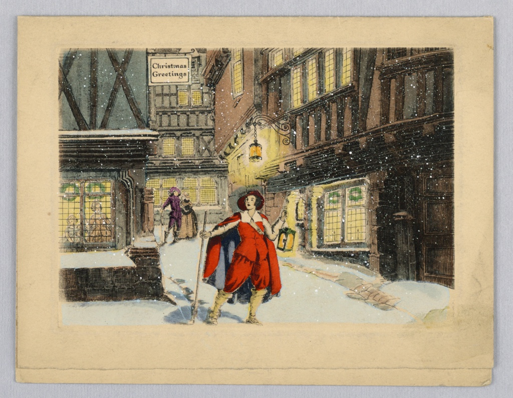 Figures stands center of page, legs spread. Left arm extended holding staff, right arm bent, holds lantern. Figure is wearing cape and hat, elaborate costume. Buildings and taverns are behind him. Lanterns and windows are lit. Snow is falling, snow is on ground and window sills.