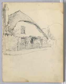 Cottage with thatched roof, chimney to right, wall and wood fence in front of cottage. Sketch of tree to the right of cottage.