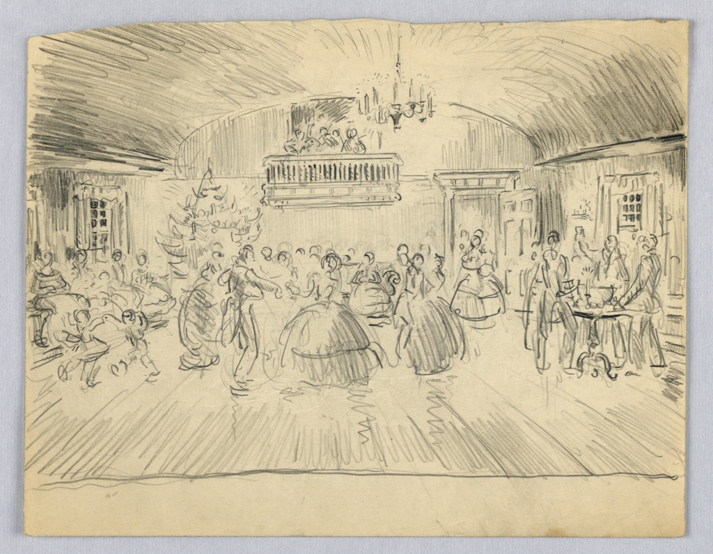 Scene of ballroom: Christmas tree stands in far left corner, a balcony overlooks figures dancing in center from the back wall. At sides are other figures standing by tables; more figures are entering by door in far right.