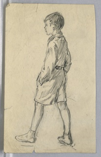 Figure in profile, facing left, has left foot extended forward in act of walking, with hands in pockets.