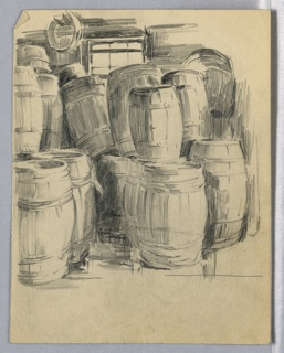 Barrels piled on top of each other inside a warehouse.