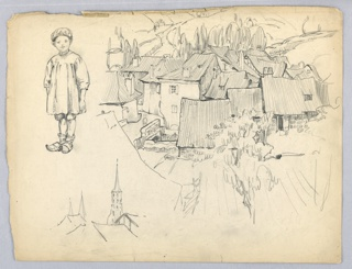 Roofs of group of houses, all steeply pitched trees and rolling fields in background. Small boy with sabots in separate sketch to left. Below, roof tops with church tower. Bottom left, separate sketches of steeple and rooftop houses.