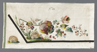Salesman's samples for embroidered waistcoats. Details include flowers, snails, a flowering branch with a bird's nest and feather worked in colored silk on white taffeta.