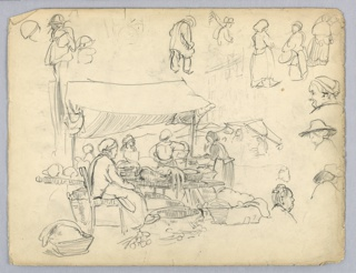 Sketch of outdoor market, counter and baskets filled with food covered by awning. Peasant women surrounded the market. Separate sketches of figures and heads of various peasant types.