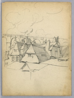 Roofs and upper floors of medieval, gable roofed houses in a village, with smoke coming out of chimneys. Arched aqueduct in background.