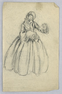 Woman in long dress with bonnet stands facing viewer, holding muff in right hand; left arm is raised and bent as if linked to another figure.