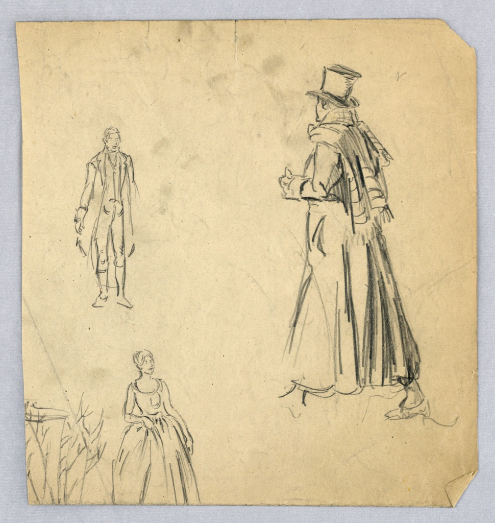 Figure of man seen from back walking, facing left background; right foot is placed forward, right arm is unseen, left arm is bent and held in front. Two smaller sketches are at left: - sketch of man standing; bottom – woman standing, looking toward left.