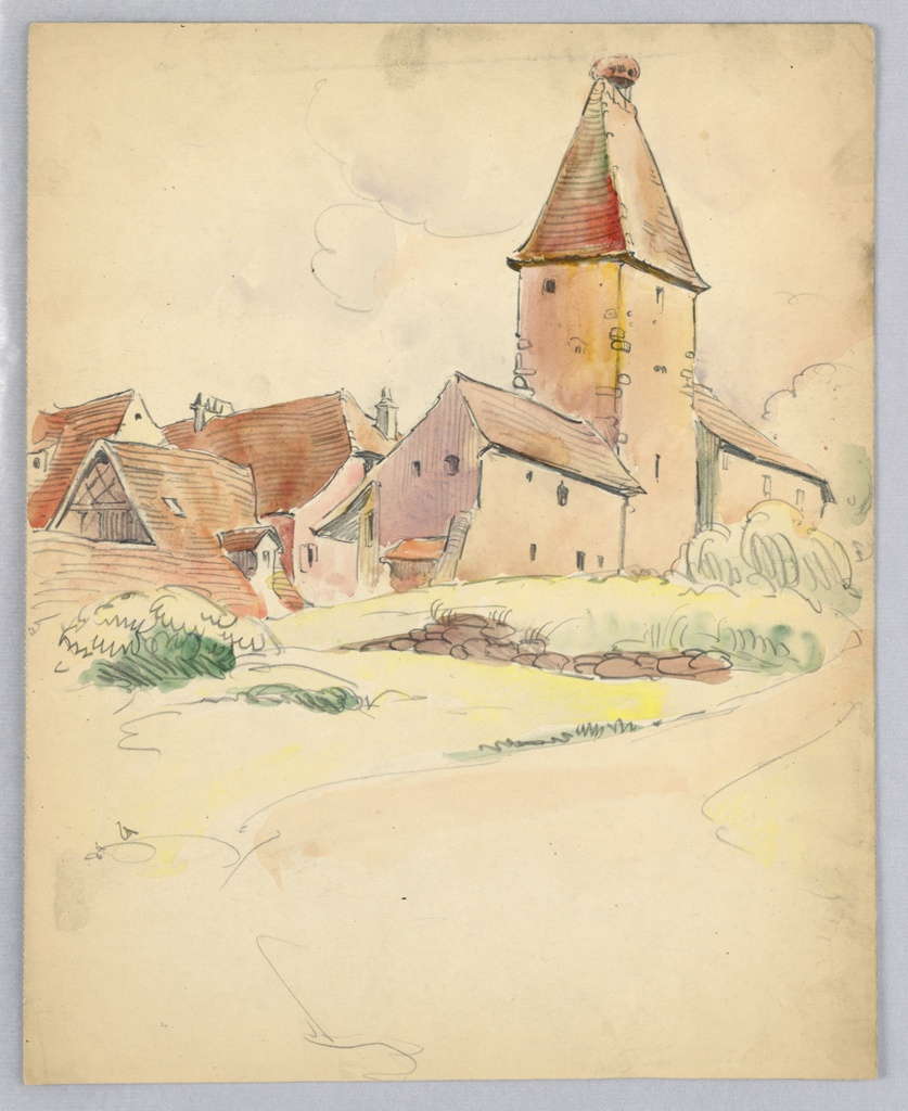Drawing, Village Houses and Tower