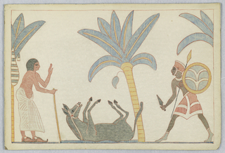 Ass, center, yling on the ground with his feet in the air under a palm tree. Old man at left, with a cane. Man at right with shield and spear.