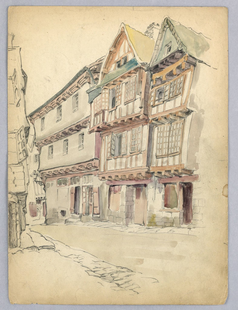 Drawing, Street with Medieval Houses