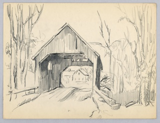 Bridge in center, perpendicular to viewer. Trees right and left foreground. View through bridge of house in background.