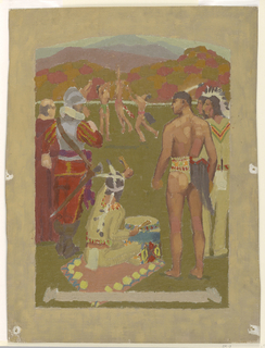 Europeans and American Indians observe three figures playing sports in an open field.