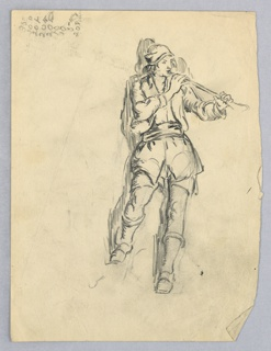 Male figure in peasant dress playing a horn. Figure is located at right center with right leg bent at knee. He is facing and holding the horn with both hands toward the right.
