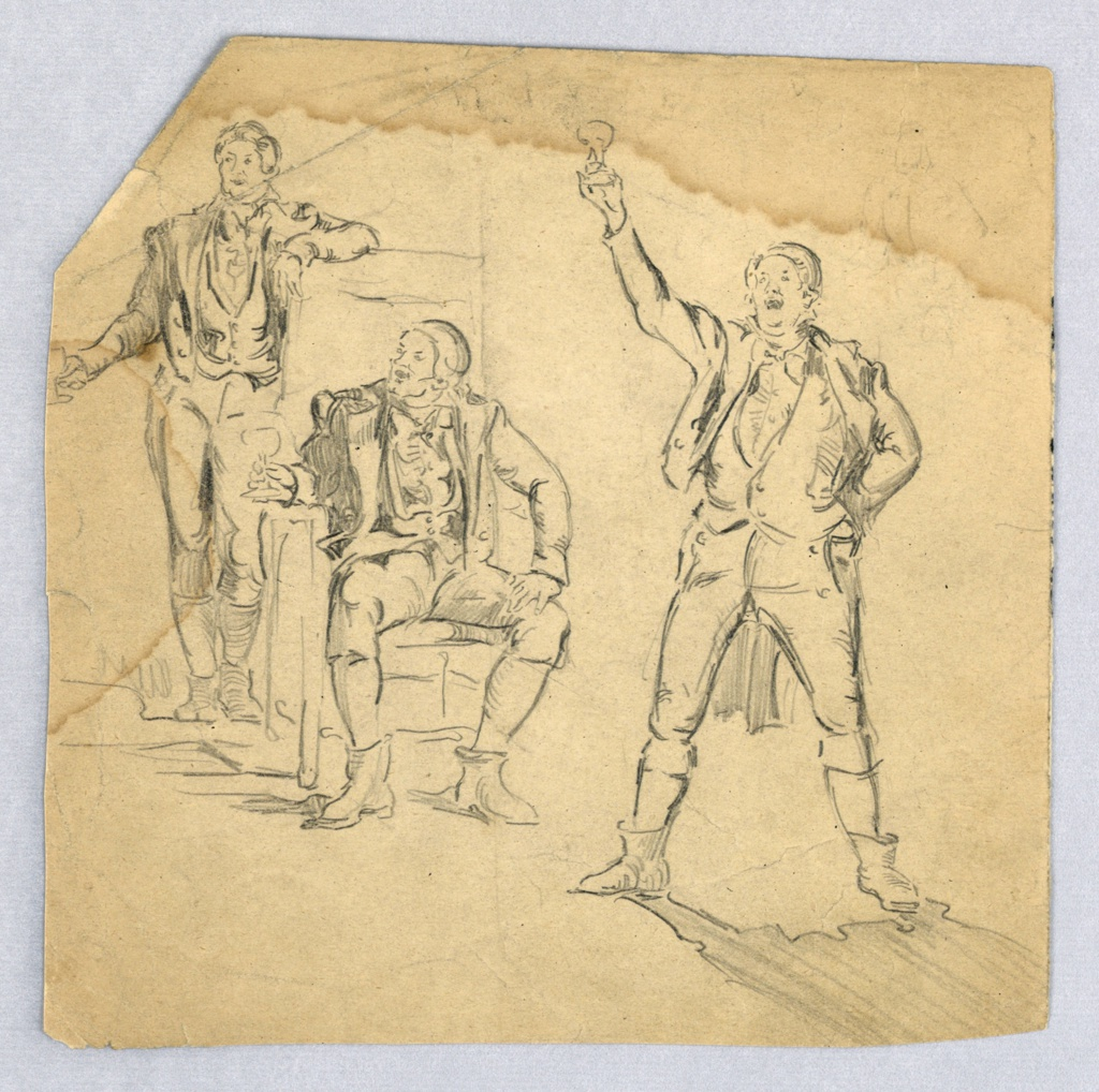 Group of three men in English dress: center figure sits in chair with legs spread, with left hand resting on left thigh; leaning on chair's back is standing figure; third figure, at right, stands with legs astride, holding a wine glass high; all three hold wine glasses in right hand and are looking toward left side.