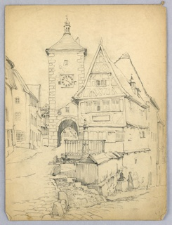 Cobble street, on two levels, separated with houses and clock tower in Medieval style to right and left as well as center separation. Probably Rothenberg in Germany.