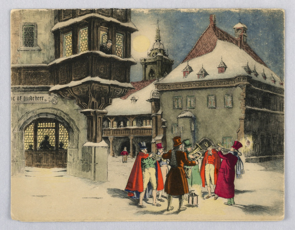 Musicians playing in the street, horns, trumpets, trombone. Gathered around lit lamp. Background are various buildings, church steeple. Figures are dressed in winter attire, snore on street and roof tops. Depicts Yuletide scenes of old England.