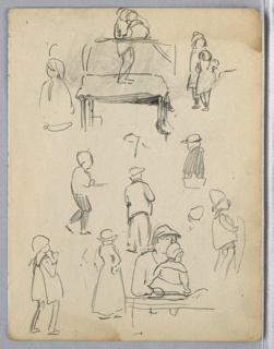 Small sketches of figures standing, walking, are scattered throughout; one holds baby at bottom right. A market stand is sketched at upper center, but unrelated to figures.