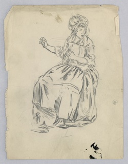 Seated woman in long dress facing left, but turning her bonneted head toward right in expression of surprise. In her left arm she holds pillow, right arm is extended in gesture of readiness to hit pillow again, fluffing it up.