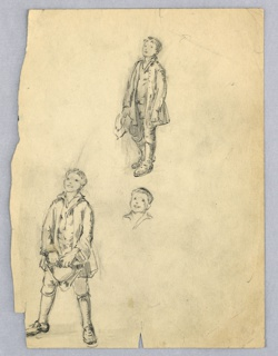 Boy in overcoat stands at upper center looing upward to left, holding hat in right hand. At lower left, boy in overcoat stands looking upward to left, legs apart, holding hat in both hands. At center: sketch of boy's head, looking up.