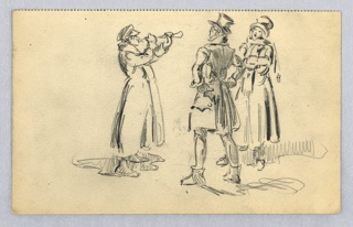 Three figures in coats and hats; figure at left is seen in profile, playing horn; figure in center foreground, seen from back, holds hands on hips; figure at right background, faces viewer, singing with arms folded.