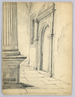 Column, left foreground, wall with doorway inset in right background, all in Renaissance style.