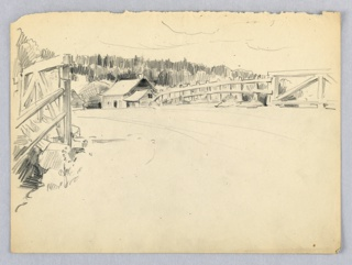 Road across bridge with wood side rails, perpendicular to viewer. House on far side, with woods hills in distance.