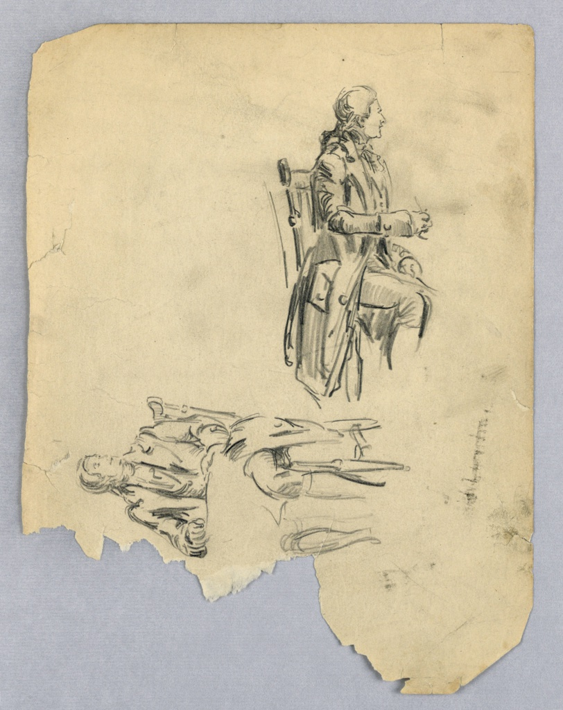 Two drawings at right angles to each other, both of seated men in English dress; figure at upper right turns toward right, with left arm bent and extended in front of him; figure at lower left sits facing frontally with large paper in his lap, head turned left. Lower left figure is sideways.