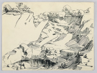 Cliffs, cut away, ascend from lower left foreground to upper right background. High cliffs, upper left, with trees. Mining generator in center foreground.