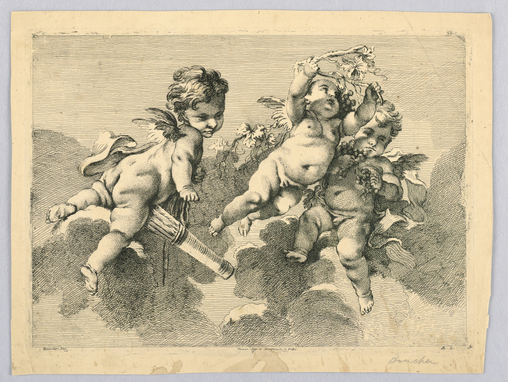 Print, Three Putti, 18th century