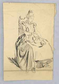 Woman in long dress, seated on hair with carved back, facing right. Her legs are spread; she holds unidentified object in her lap, looking down and holding it in both hands.