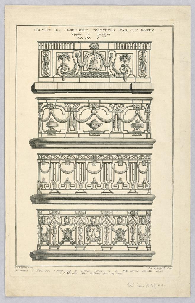 Print, Design for Balcony Railings, 18th century