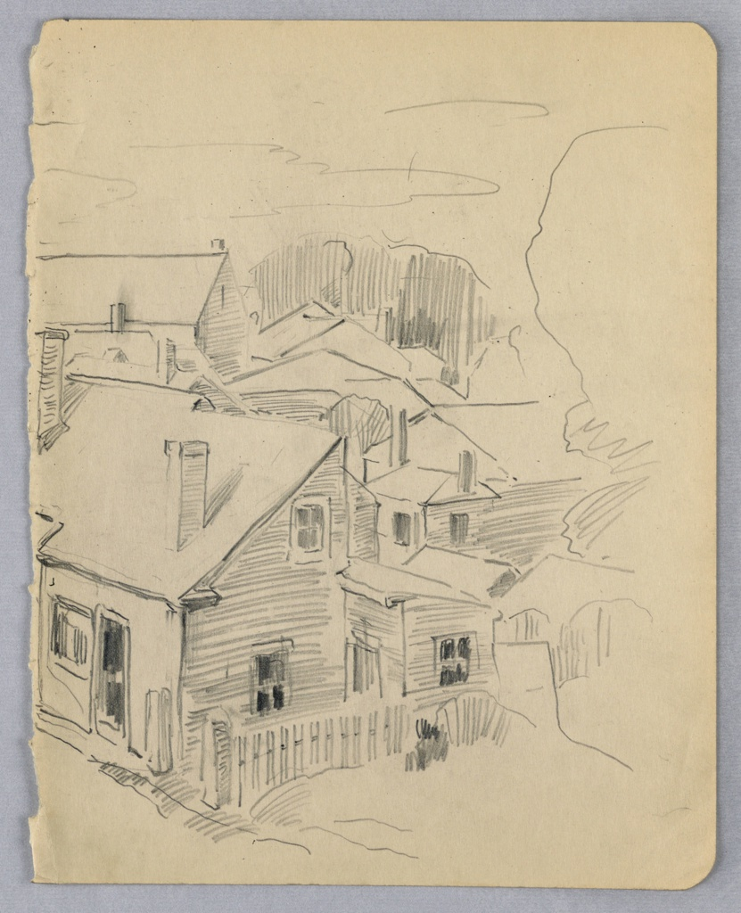 Houses are drawn in a cluster with emphasis on diagonal lines. A small wooden fence on a slight diagonal extends in front of a house at lower portion of page. At right, foliage is sketchily indicated.