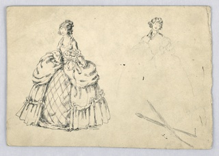 Figure on left, in ink, holds bouquet in left hand, right hand rests on top of her large, ornate skirt. Her head is titled slightly toward left. At right is similar figure indicated in pencil with only the head drawn in ink.