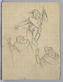 Three variants of same figure, dress in tunic and headdress in crouching stance and holding staff. Marked in grid for preliminary cartoon.