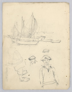 Upper part, fishing boats with sails, and dories at anchor. Lower part, sketches of young sailors and, to left pair of feet in sabots.
