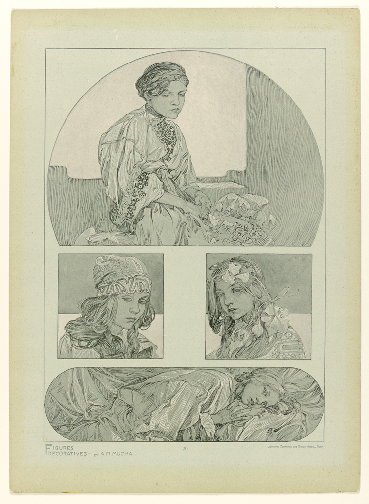 In a quadripartite design, four female figures pose, wearing robes; three seated and one lying on her side; printed in green and white on a green ground.