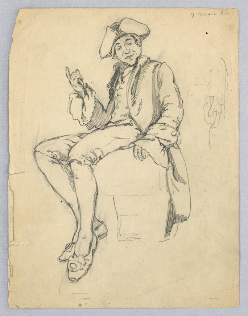 Man is seated on barely indicated seat, facing viewer in turned position. Legs, bent, are extended toward left; left arm, slightly curved, rests on seat; right arm, bent and raised in speaking gesture; head is turned slightly forward and down.