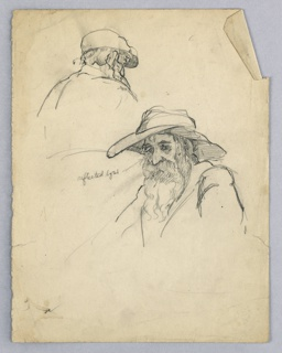 In center, head of old man in soft, broad-brimmed hat, with long hair and beard, profile view turned right. Above, a second version of same man wearing a cap.