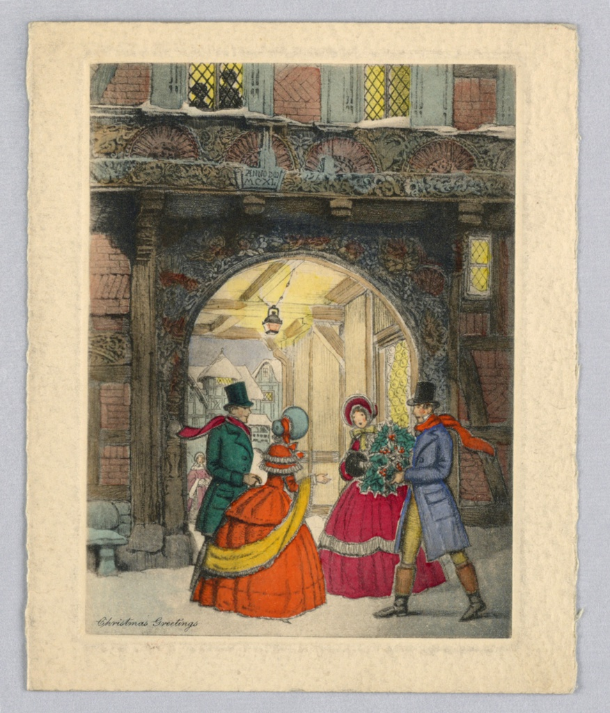 Four figures winter attired stand in front of an arched entrance, conversing with one another. Male figure on the right holds a Christmas wrath. Lamp and windows are lit up in background. Inscription lower left.