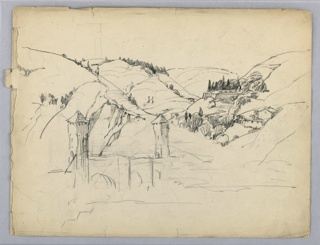 Mountainous landscape with sketch for medieval bridge, arched and towers at either end, across a river in foreground.