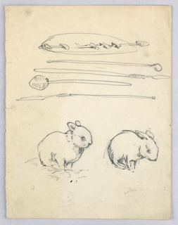 Bottom, two rabbits in three-quarter pose to right. Top, four spears or lances and one shield.