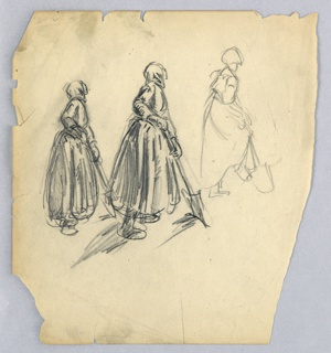 Three-figure, all variants of the same, facing right, of a woman in long skirt and head kerchief, holding spade in both hands.